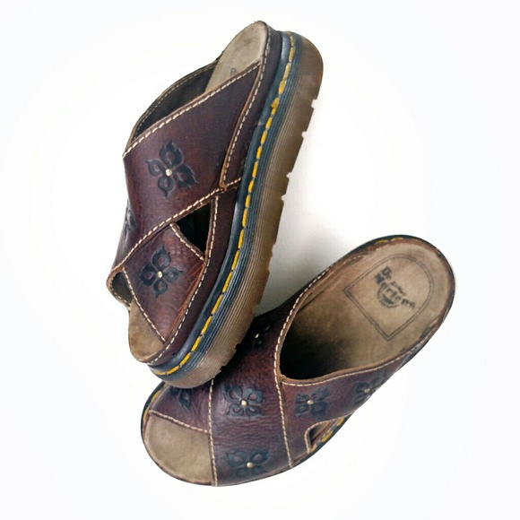 6ba21836676a Dr. Martens Shoes - Dr. Martens 1990s Floral Platform Leather Sandals